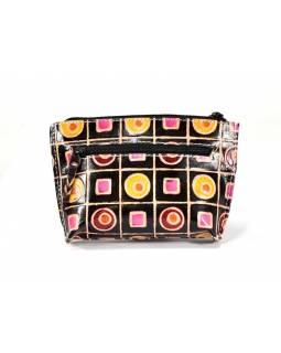 """Peněženka na drobné design """"Geometric"""", ručně malovaná kůže, černá,13x9cm"""