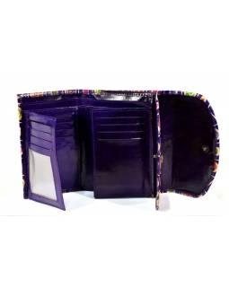 """Velká peněženka design """"Two Cats"""", ručně malovaná kůže, fialová, 15x11cm"""