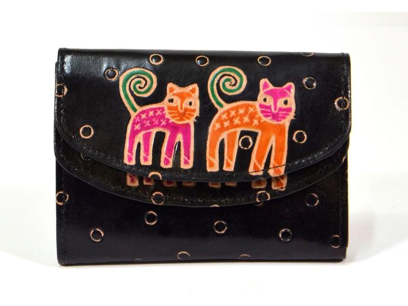 """Velká peněženka design """"Two Cats"""", ručně malovaná kůže, černá, 15x11cm"""