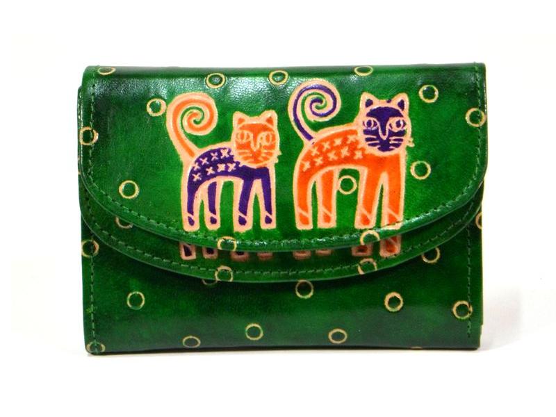 """Velká peněženka design """"Two Cats"""", ručně malovaná kůže, zelená, 15x11cm"""