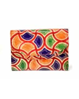 """Velká peněženka design """"Vitrage"""", ručně malovaná kůže, červená,15x11cm"""