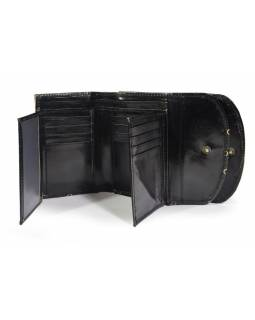 """Velká peněženka design """"Old desing"""", ručně malovaná kůže, černá,15x11cm"""