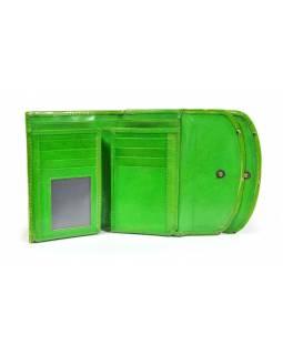 """Velká peněženka design """"Zebra"""", ručně malovaná kůže, zelená, 15x11cm"""