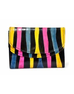 """Velká peněženka design """"Zebra"""", ručně malovaná kůže, černá, 15x11cm"""