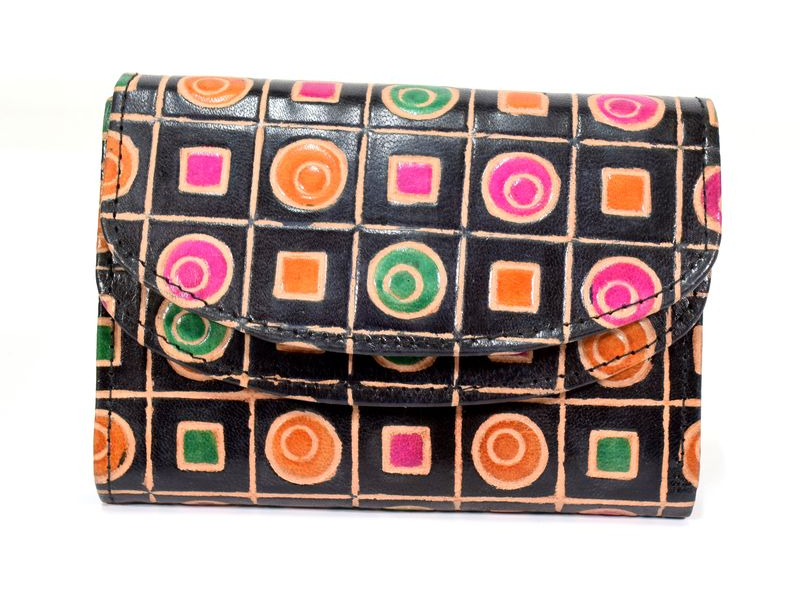 """Velká peněženka design """"Geometric"""", ručně malovaná kůže, černá,15x11cm"""