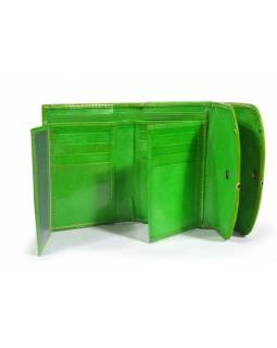 """Velká peněženka design """"Geometric"""", ručně malovaná kůže, zelená,15x11cm"""