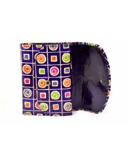 """Velká peněženka design """"Geometric"""", ručně malovaná kůže, fialová,15x11cm"""