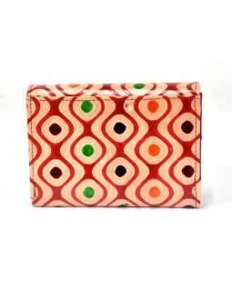 """Velká peněženka design """"Dots illusion"""", ručně malovaná kůže, červená,15x11cm"""