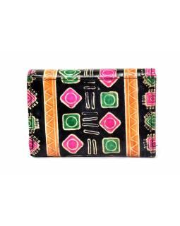 """Velká peněženka design """"Indian"""", ručně malovaná kůže, černá,15x11cm"""