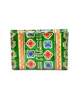 """Velká peněženka design """"Indian"""", ručně malovaná kůže, zelená,15x11cm"""