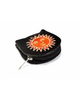 Černá peněženka na drobné s designem slunce, ručně malovaná kůže, 8x8cm