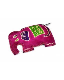 Růžová peněženka na drobné ve tvaru slona, malovaná kůže, 11x8cm