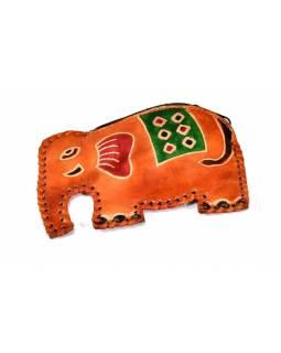 Oranžová peněženka na drobné ve tvaru slona, malovaná kůže, 11x8cm