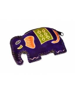Fialová peněženka na drobné ve tvaru slona, malovaná kůže, 11x8cm