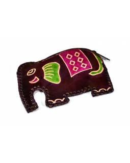Vínová peněženka na drobné ve tvaru slona, malovaná kůže, 11x8cm