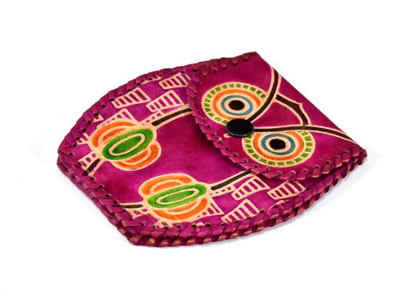 Růžová peněženka na drobné ve tvaru sovy, ručně malovaná kůže, 11x8cm