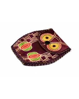 Hnědá peněženka na drobné ve tvaru sovy, ručně malovaná kůže, 11x8cm