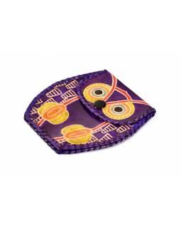 Fialová peněženka na drobné ve tvaru sovy, ručně malovaná kůže, 11x8cm