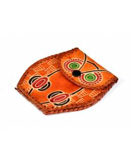 Oranžová peněženka na drobné ve tvaru sovy, ručně malovaná kůže, 11x8cm