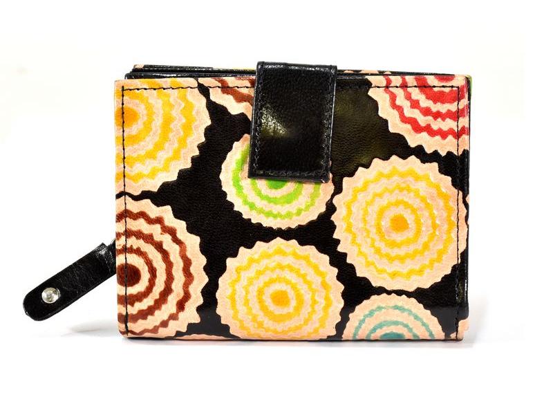 """Peněženka design """"Zik Zak"""", ručně malovaná kůže, černá, 9x12cm"""