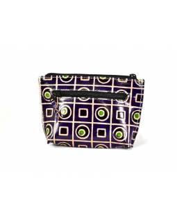 """Peněženka na drobné design """"Geometric"""", ručně malovaná kůže, fialová,13x9cm"""