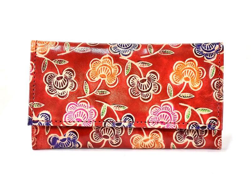 """Peněženka design """"Small Flower 2"""", ručně malovaná kůže, červená, 18x10,5cm"""