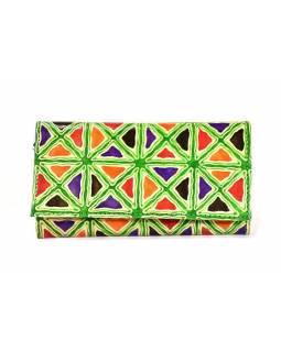 """Peněženka design """"Geometric"""" ručně malovaná kůže, zelená, 18x10,5cm"""