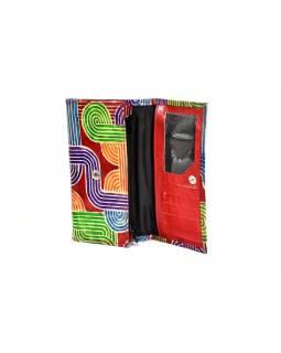 """Peněženka design """"Tube 2"""", ručně malovaná kůže, červená, 18x10,5cm"""