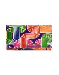 """Peněženka design """"Tube 2"""", ručně malovaná kůže, fialová, 18x10,5cm"""