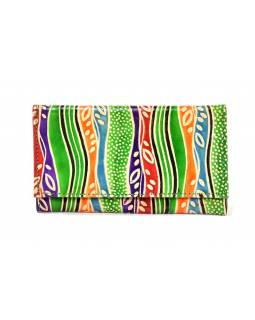 """Peněženka design """"Leaves"""", ručně malovaná kůže, zelená, 18x10,5cm"""