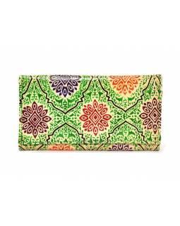 """Peněženka design """"Ornament"""", ručně malovaná kůže, zelená, 18x10,5cm"""