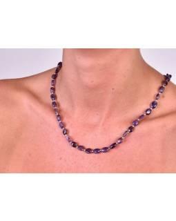 Zapínací náhrdelník s korálky z ametystu, postříbřený (10µm), 44cm