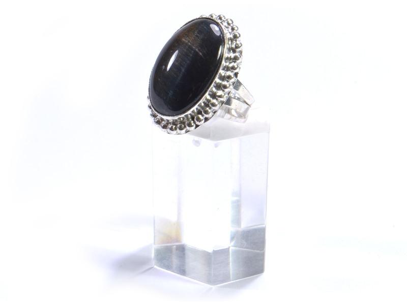 Prsten s polodrahokamem, tygří (jestřábí) oko, postříbřený (10µm)