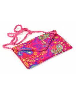 Bohatě vyšívané růžová psaníčko, samet, zapínání na magnet, 30x19cm