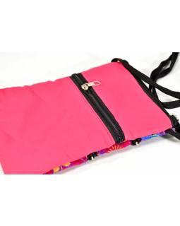 Bohatě vyšívaná malá růžová taštička, samet, zapínání na zip, 15x21cm