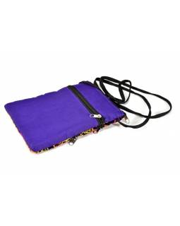 Bohatě vyšívaná malá tmavě fialová taštička, samet, zapínání na zip, 15x21cm