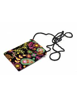 Bohatě vyšívaná malá černá taštička na mobil, samet, suchý zip, 17x12cm