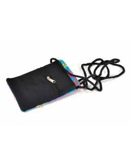Bohatě vyšívaná malá tyrkysová taštička na mobil, samet, suchý zip, 17x12cm