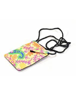 Bohatě vyšívaná malá béžová taštička na mobil, samet, suchý zip, 17x12cm