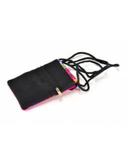 Bohatě vyšívaná malá růžová taštička na mobil, samet, suchý zip, 17x12cm