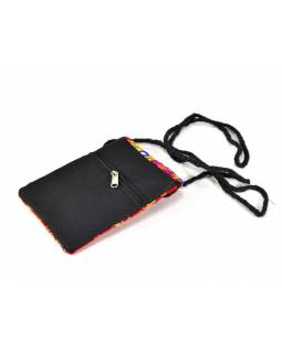 Bohatě vyšívaná malá červená taštička na mobil, samet, suchý zip, 17x12cm