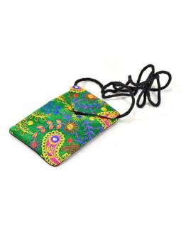 Bohatě vyšívaná malá zelená taštička na mobil, samet, suchý zip, 17x12cm