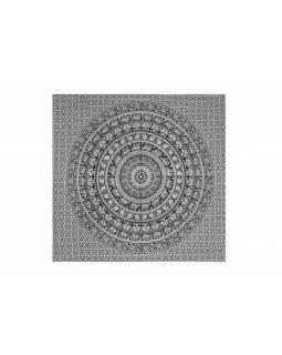 Přehoz na postel, Sloní mandala, bílo černý, 215x235cm