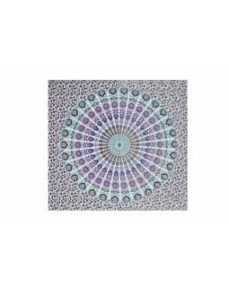 Bavlněný přehoz s mandalou, bílo-růžovo-modrý, 215x235cm