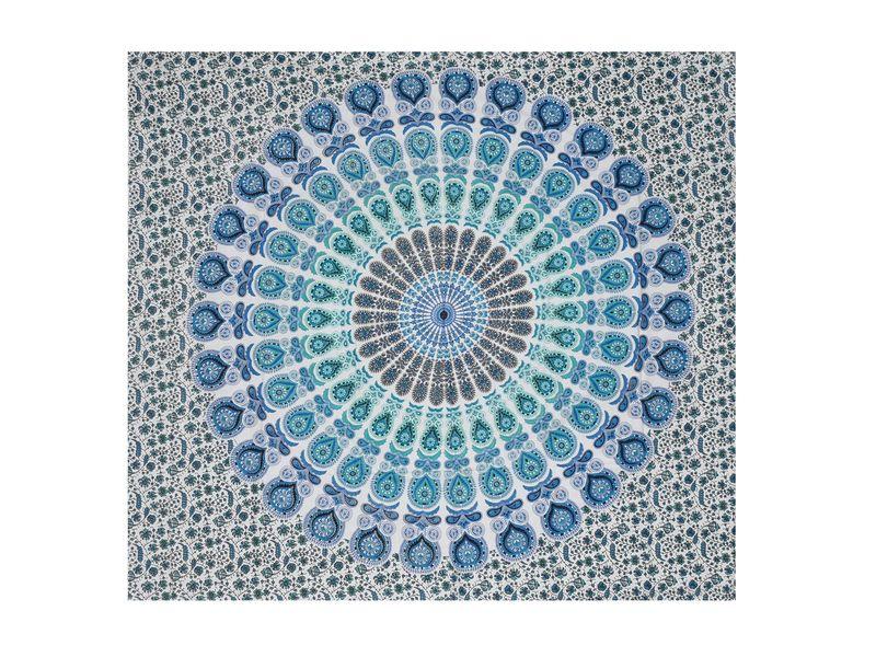 Bavlněný přehoz s mandalou, bílo-zeleno-modrý, 200x225cm