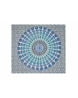 Bavlněný přehoz s mandalou, bílo-zeleno-modrý, 215x235cm
