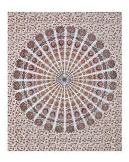 Bavlněný přehoz s mandalou, bílo-vínovo-hnědý, 215x235cm