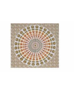 Bavlněný přehoz s mandalou, bílo-oranžovo-žlutý, 215x235cm