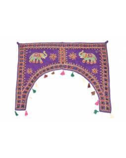 Ručně vyšívaný závěs nad dveře, fialový se slony, sklíčky a třásněmi, 102x75cm