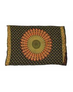 Černý bavlněný sárong s ručním tiskem, paví peří, 110x170cm